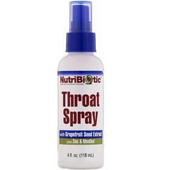 NutriBiotic, 含有葡萄柚籽提取物加上鋅、薄荷醇的喉嚨噴霧,4 液量盎司(118 毫升)