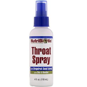 Нутрибиотик, Throat Spray with Grapefruit Seed Extract plus Zinc & Menthol, 4 fl oz (118 ml) отзывы покупателей