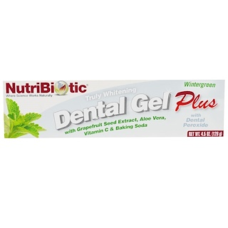NutriBiotic, Dental Gel Plus, Blanchiment véritable, Wintergreen, 4,5 oz (128 g)