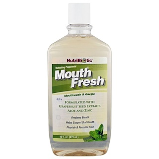 NutriBiotic, Mouth Fresh, Mouthwash & Gargle, Refreshing Peppermint, 16 fl oz (473 ml)