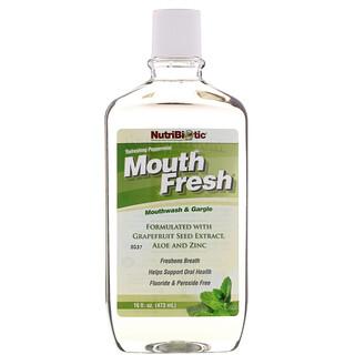 NutriBiotic, Mouth Fresh, bain de bouche, menthe rafraîchissante, 16 onces liquides (473 ml)