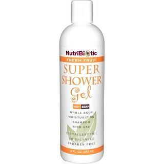 NutriBiotic, スーパーシャワージェル, フレッシュフルーツ, 非石鹸, 12液量オンス (355 ml)