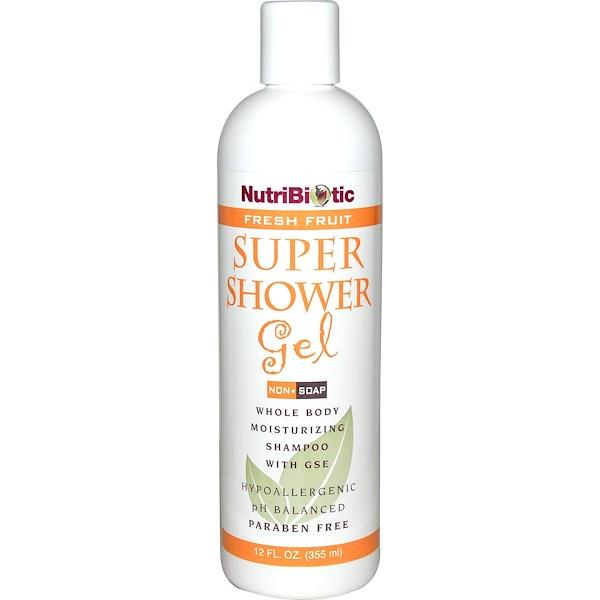 洗浴及美容沐浴液,沐浴露:NutriBiotic, 超級沐浴膠,新鮮水果,非肥皂,12液體盎司(355毫升)
