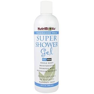 NutriBiotic, スーパーシャワージェル, 無香料, ノンソープ, 12液量オンス (355 ml)