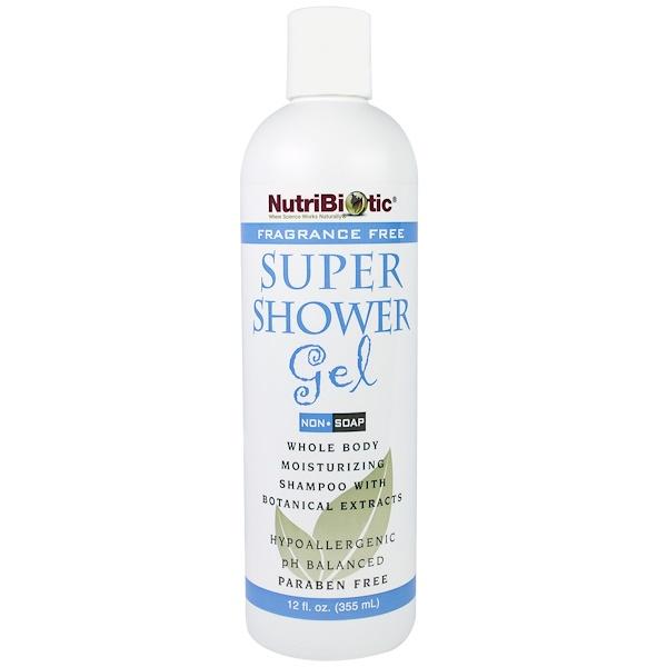 NutriBiotic, 超級沐浴凝膠,無香味,非肥皂,12液體盎司(355毫升)