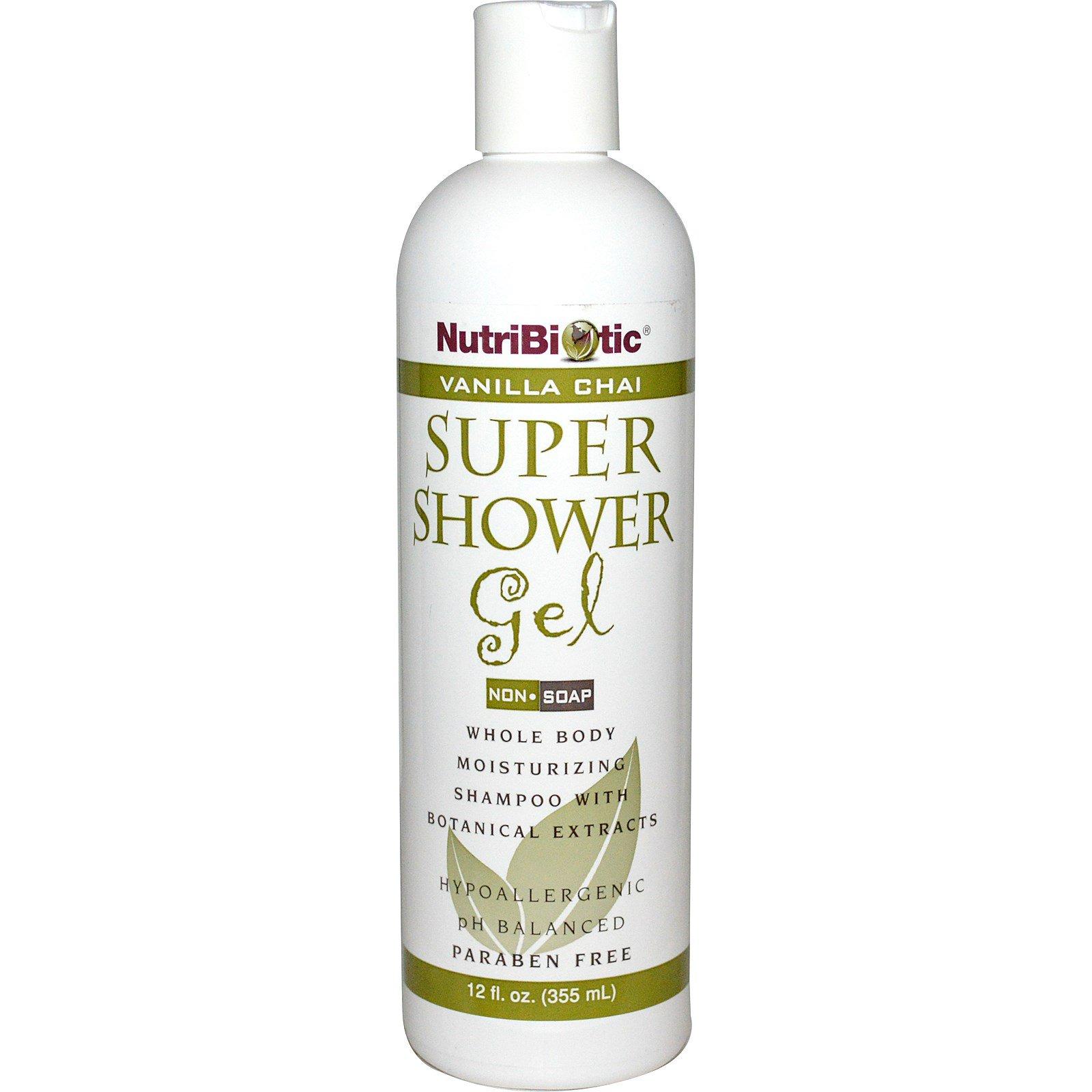 NutriBiotic, Супер гель для душа, немыльный, ваниль-чай, 12 жидких унций (355 мл)