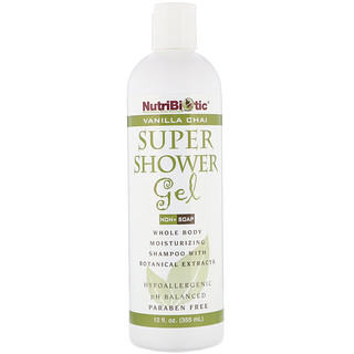 NutriBiotic, Super gel douche, Sans savon, Chai à la vanille, 12 oz liq (355 ml)