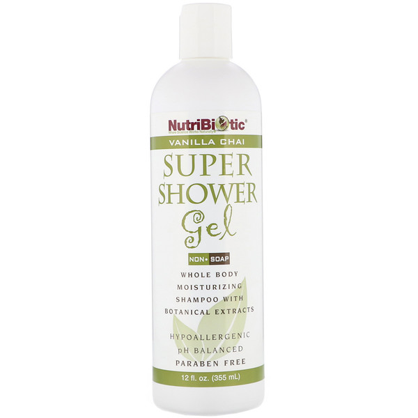 NutriBiotic, Super gel douche, Sans savon, Chai à la vanille, 12 oz liq (355 ml)