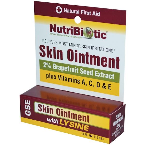 NutriBiotic, 皮膚軟膏、リジン配合グレープフルーツ種子エキス2%、0.5液量オンス(15 ml)