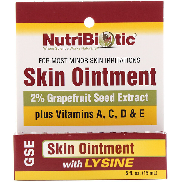 NutriBiotic, Skin Ointment, 2% Grapefruit Seed Extract with Lysine, .5 fl oz (15 ml)