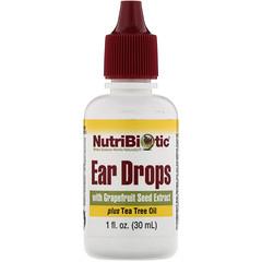 NutriBiotic, 滴耳劑,含有葡萄柚籽提取物和茶樹油,1 液量盎司(30 毫升)