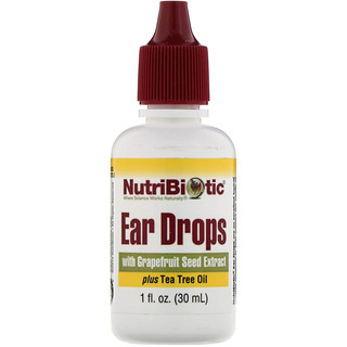 NutriBiotic, Ear Drops with Grapefruit Seed Extract plus Tea Tree Oil, 1 fl oz (30 ml)