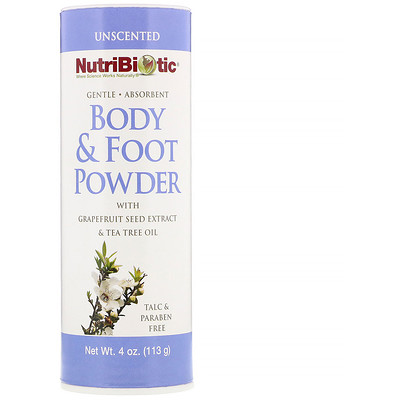 Body & Foot Powder with Grapefruit Seed Extract Tea Tree Oil, Unscented, 4 oz (113 g)