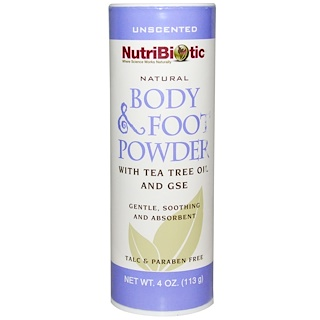 NutriBiotic, Natural Body & Foot Powder, Unscented, 4 oz (113 g)