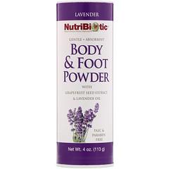 NutriBiotic, 爽身和爽足粉,含葡萄柚籽提取物和薰衣花草油,薰衣花草,4 盎司(113 克)