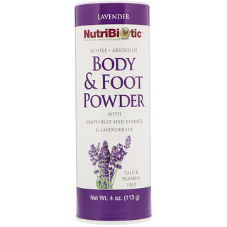 NutriBiotic, Body & Foot Powder with Grapefruit Seed Extract & Lavender Oil, Lavender, 4 oz (113 g)