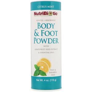 Нутрибиотик, Body & Foot Powder with Grapefruit Seed Extract & Essential Oils, Citrus Mint, 4 oz (113 g) отзывы покупателей