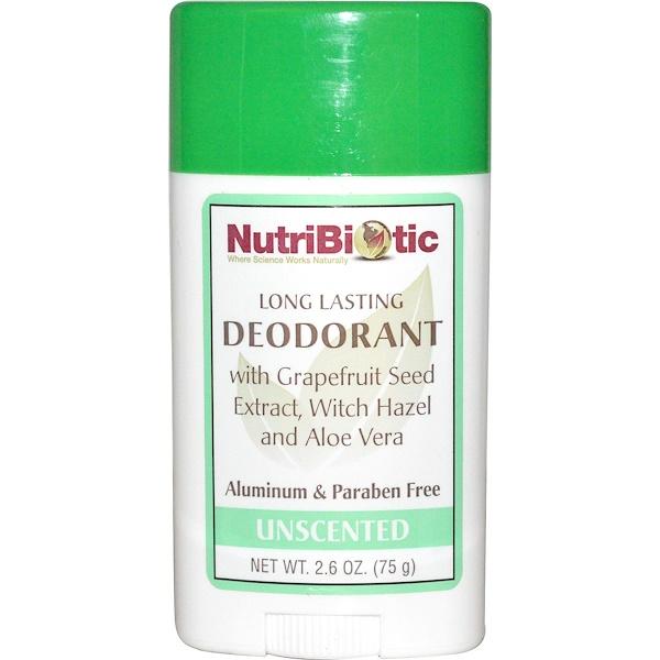 NutriBiotic, Long Lasting Deodorant Stick, Unscented, 2.6 oz (75 g)