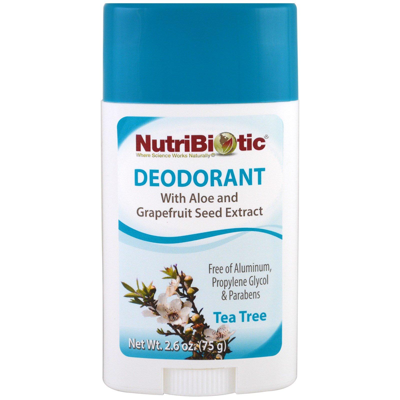 NutriBiotic, Дезодорант, чайное дерева, 2.6 унции (75 г)