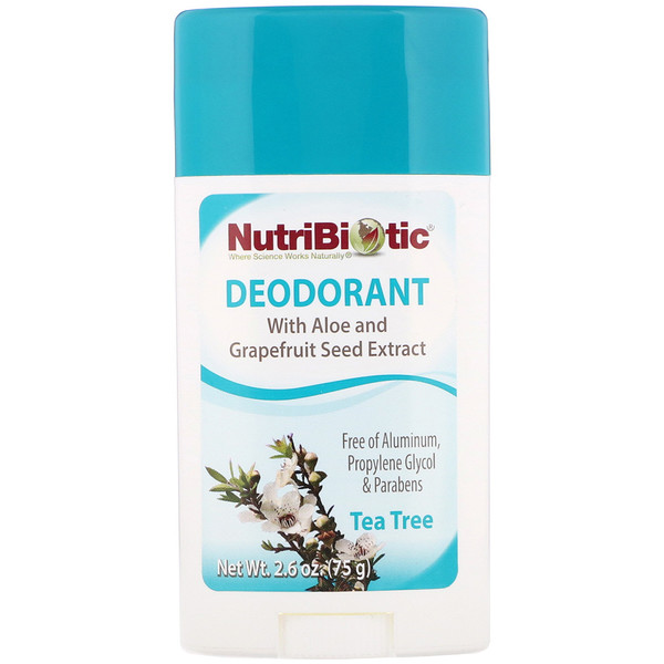 NutriBiotic, Deodorant, Tea Tree, 2.6 oz (75 g) (Discontinued Item)