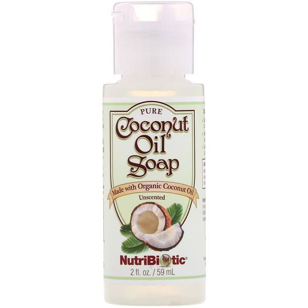 NutriBiotic, Pure Coconut Oil Soap, Unscented, 2 fl oz (59 ml) (Discontinued Item)