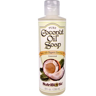 NutriBiotic, Pure Coconut Oil Soap, Unscented, 8 fl oz (236 ml)