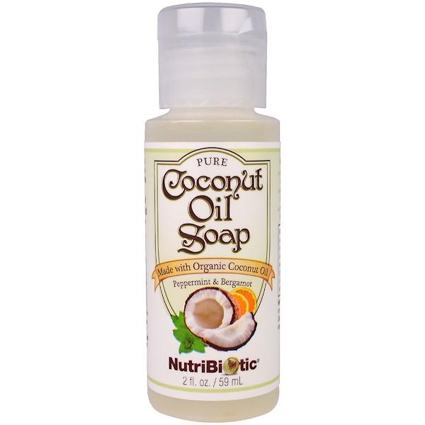 NutriBiotic, 純椰子油皂,薄荷和佛手柑,2液體盎司(59毫升)