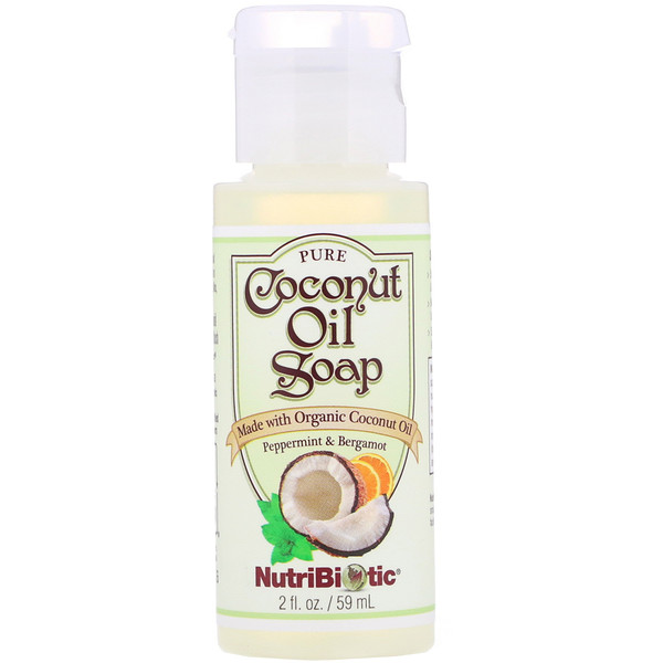 NutriBiotic, Pure Coconut Oil Soap, Peppermint & Bergamot, 2 fl oz (59 ml) (Discontinued Item)