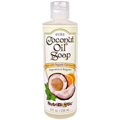 NutriBiotic 純椰子油皂,薄荷和佛手柑,8液體盎司(236毫升)
