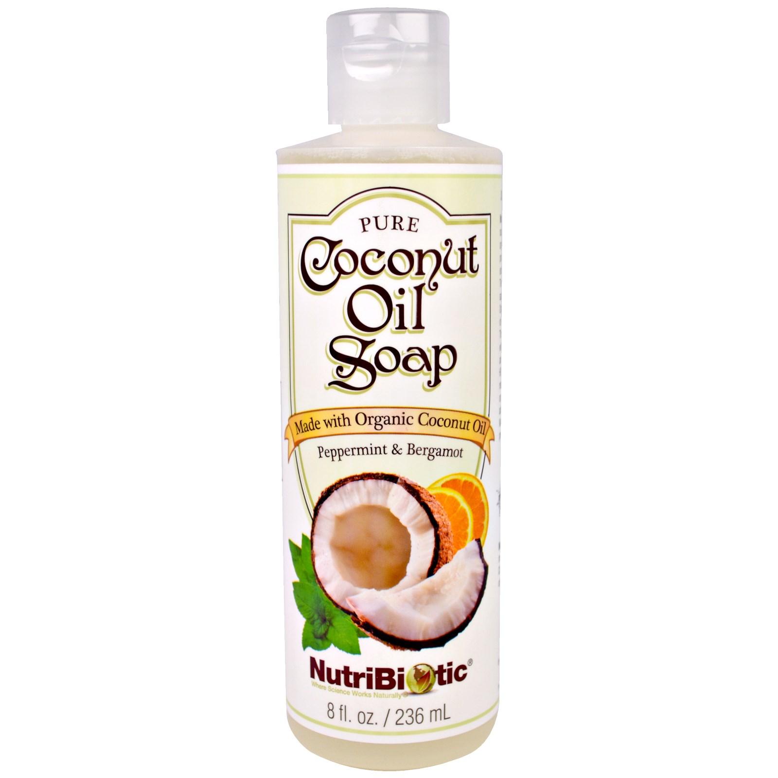 NutriBiotic, Мыло из чистого кокосового масла, с ароматом перечной мяты и бергамота, 8 жидких унций (236 мл)