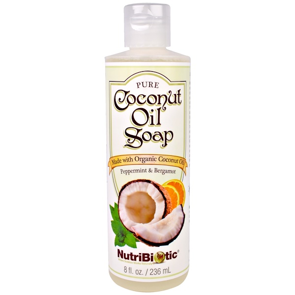 NutriBiotic, Pure Coconut Oil Soap, Peppermint & Bergamot, 8 fl oz (236 ml)