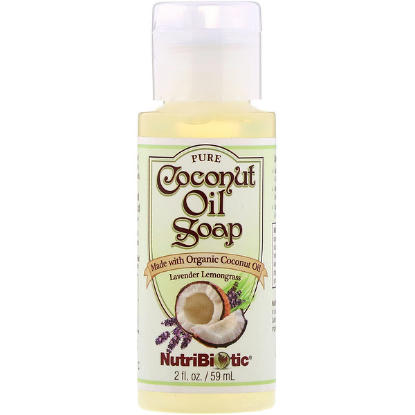 NutriBiotic, Pure Coconut Oil Soap, Lavender Lemongrass, 2 fl oz (59 ml)