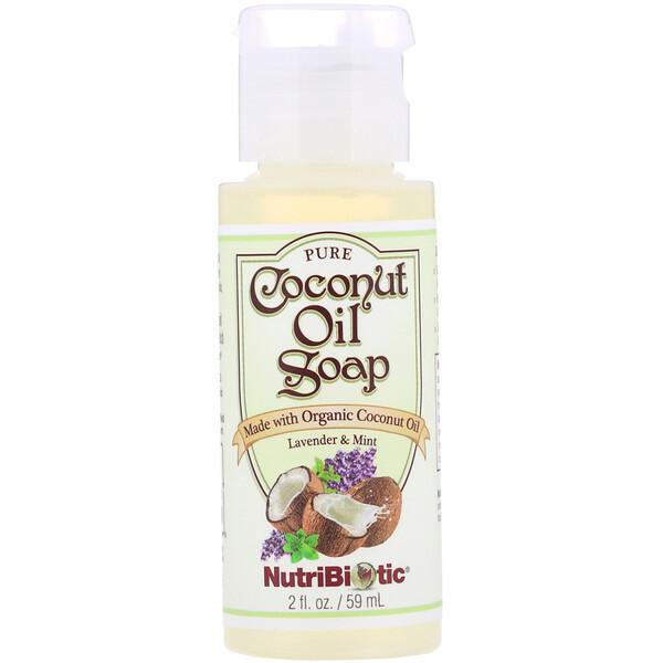NutriBiotic, Jabón puro de aceite de coco, lavanda y menta, 2 fl oz (59 ml) (Discontinued Item)