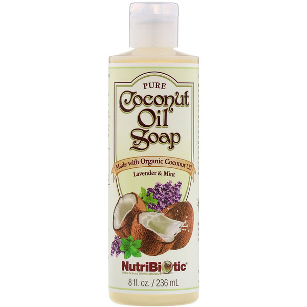 NutriBiotic, Pure Coconut Oil Soap, Lavender & Mint, 8 fl oz (236 ml) (Discontinued Item)