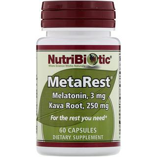 NutriBiotic, MetaRest, Melatonin and Kava Root, 3 mg / 250 mg, 60 Capsules