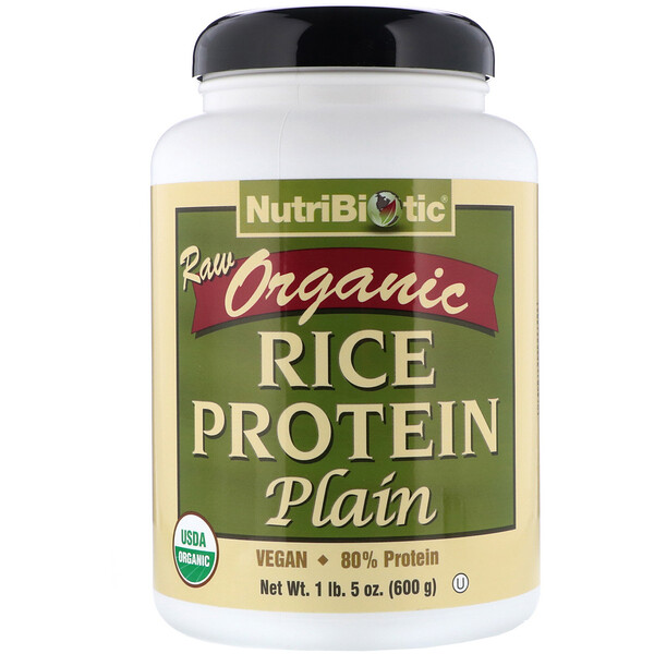 Raw Organic Rice Protein, Plain, 1 lb 5 oz (600 g)