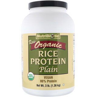 NutriBiotic, Raw Organic Rice Protein, Plain, 3 lbs (1.36 kg)