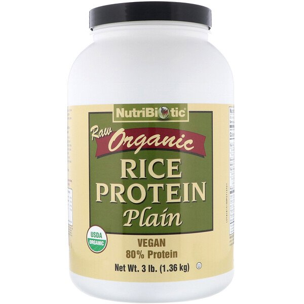 Raw Organic Rice Protein, Plain, 3 lbs (1.36 kg)