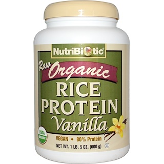 NutriBiotic, Raw Organic Rice Protein, Vanilla, 1 lb 5 oz (600 g)