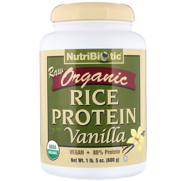 NutriBiotic, Raw Organic Rice Protein, Vanilla, 1.3 lbs (600 g)