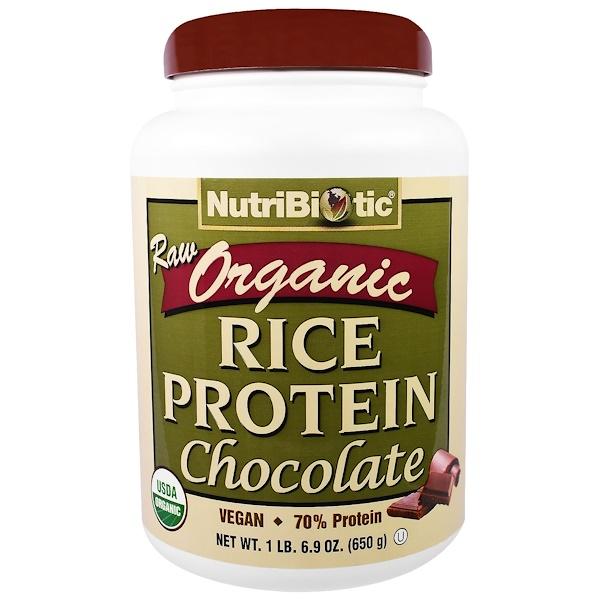 NutriBiotic, 유기농 생 쌀 단백질, 초콜렛, 6.9 온스(650 g)