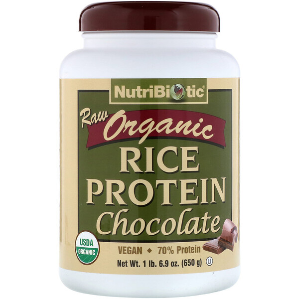 Raw Organic Rice Protein, Chocolate, 1 lb 6.9 oz (650 g)