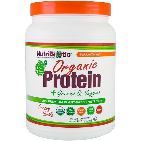 NutriBiotic, 有機蛋白+綠色食物和蔬菜,奶油香草,1磅3盎司(540克)