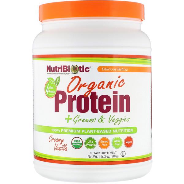 NutriBiotic, Органический протеин + Зелень и овощи, Кремовая ваниль, 1 фунт 3 унции (540 г) (Discontinued Item)