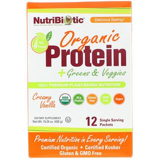 NutriBiotic, Protéines bio + Légumes verts et Légumes Bio, Vanille crémeuse, 12 Sachet individuels, 1.26 oz (36 g) chacun