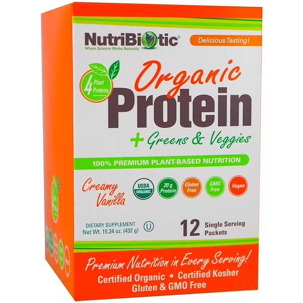 NutriBiotic, Organic Protein + Greens & Veggies, Creamy Vanilla, 12 Single Serving Packets, 1.26 oz (36 g) Each
