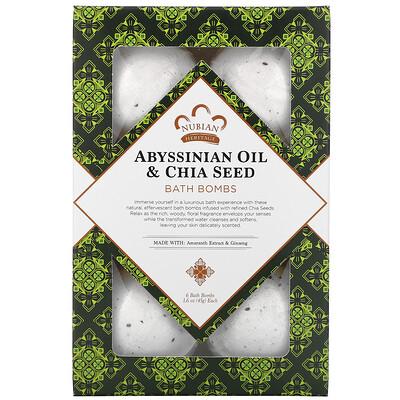 Купить Nubian Heritage Abyssinian Oil & Chia Seed, Bath Bombs, 6 Bath Bombs, 1.6 oz (45 g) Each