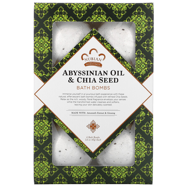 Abyssinian Oil & Chia Seed, Bath Bombs, 6 Bath Bombs, 1.6 oz (45 g) Each