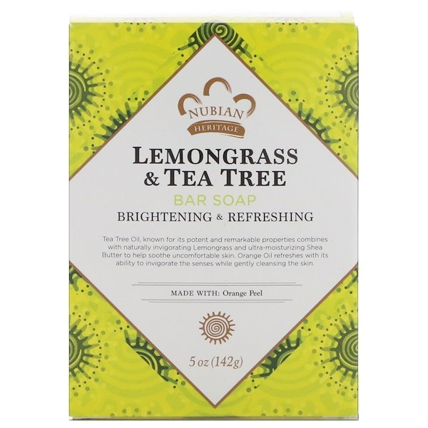 Nubian Heritage, Lemongrass & Tea Tree Bar Soap, 5 oz (142 g)