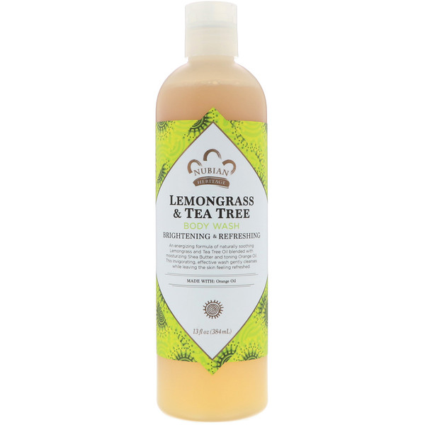 Nubian Heritage, Body Wash, Lemongrass & Tea Tree, 13 fl oz (384 ml) (Discontinued Item)